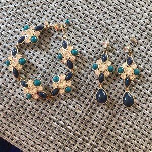 Jewelry - 2 pc set - ceramic/crystal bracelet & earrings